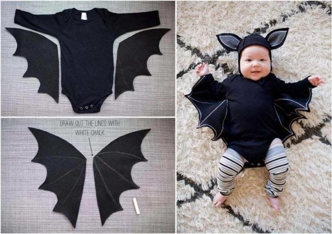 como fazer fantasia de morcego para bebê