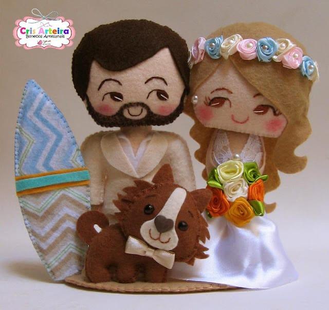 noivinhos de feltro para bolo de casamento