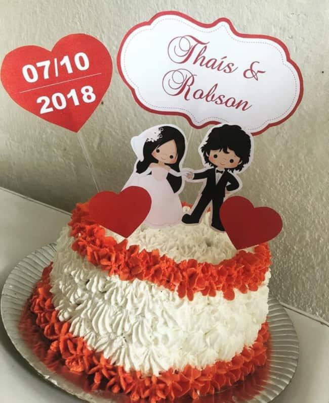 topo de bolo de casamento em papel