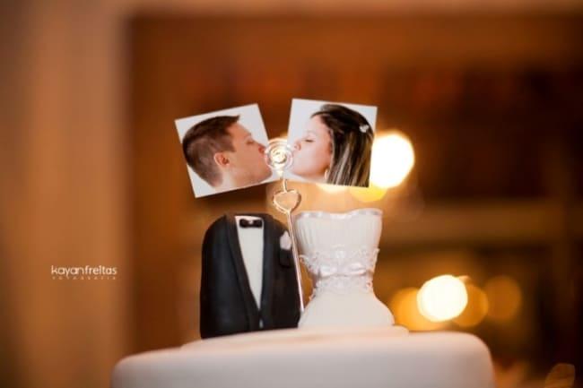 noivinhos diferentes com foto para bolo de casamento