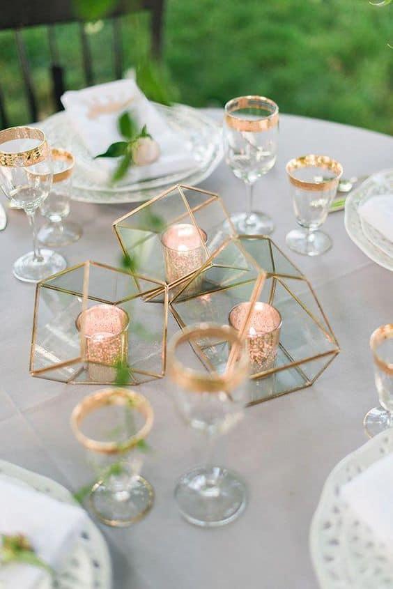 ideias modernas para decoração de casamento minimalista