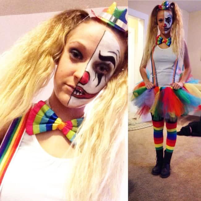 fantasia de Halloween feminina com maquiagem de palhaço