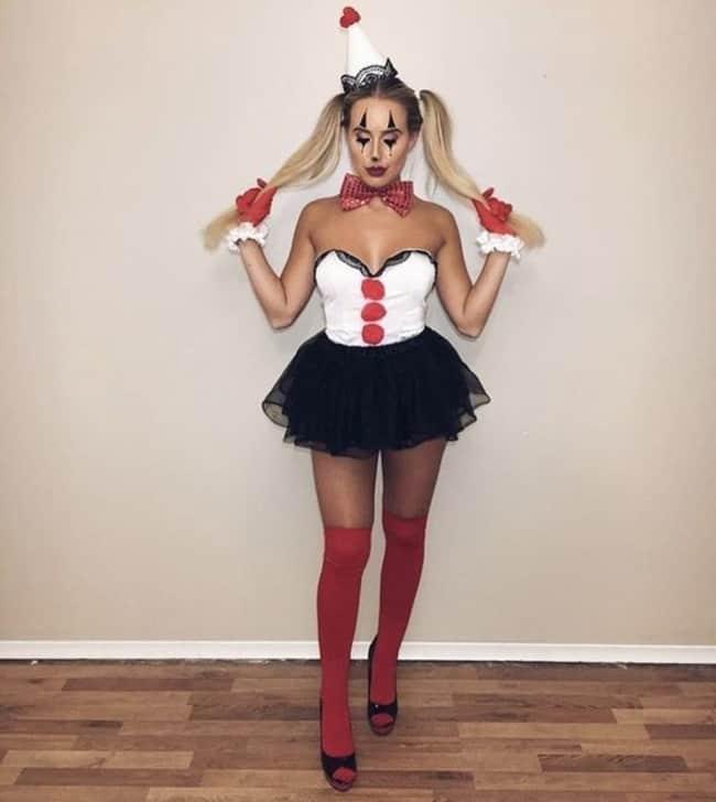 fantasia de palhaça sexy para Halloween