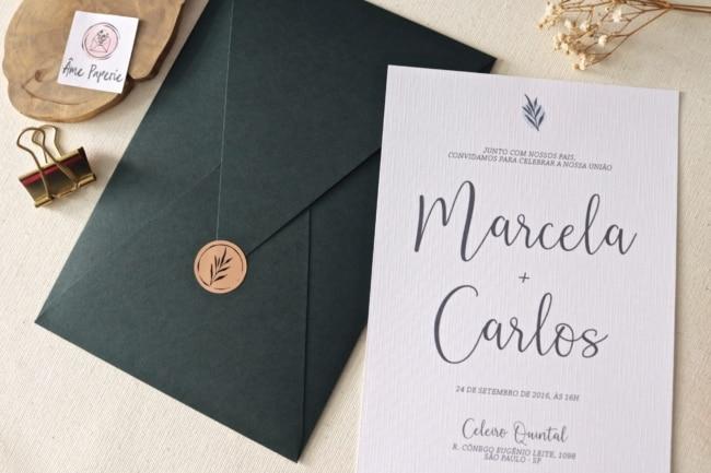 modelo de convite minimalista para casamento