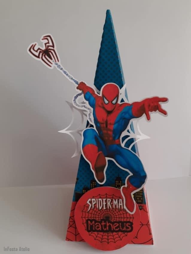 caixa cone azul e vermelha do Homem Aranha