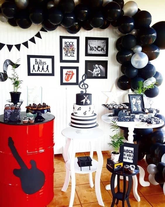 decoração para festa rockn roll