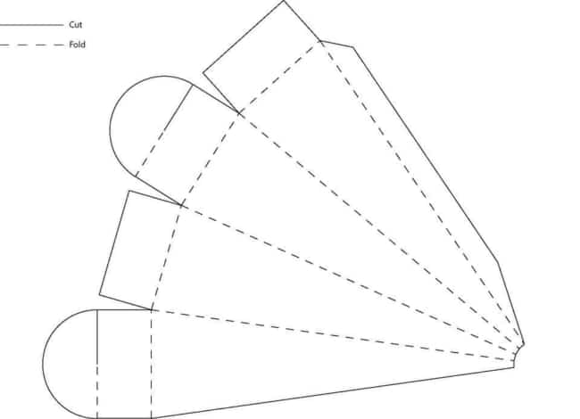 molde simples de caixa cone para imprimir