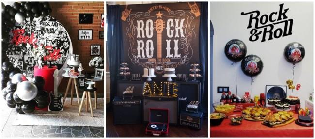 decoração de festa rockn roll