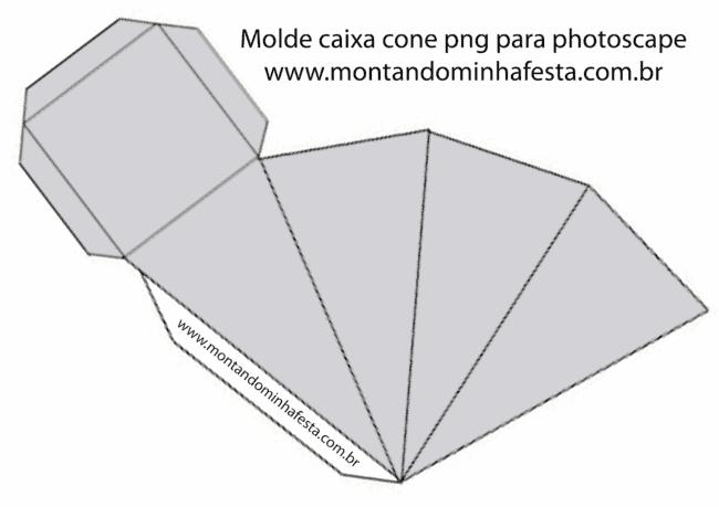 molde para imprimir de caixa de cone