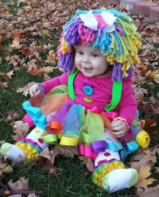 fantasia colorida de palhacinha para bebê