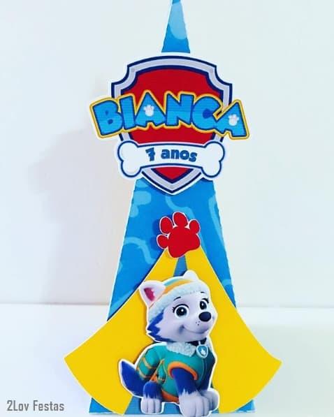 caixa cone Patrulha Canina personalizada com nome