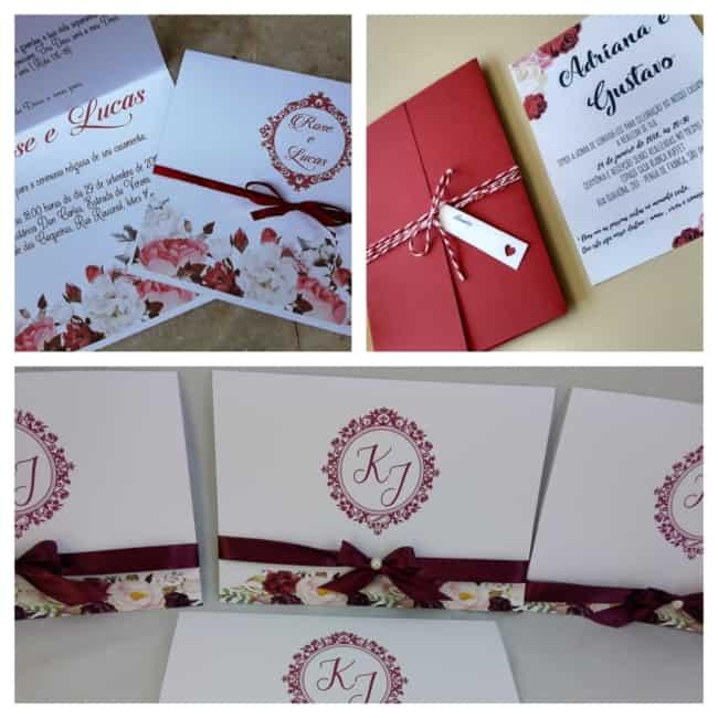 Convites de casamento marsala