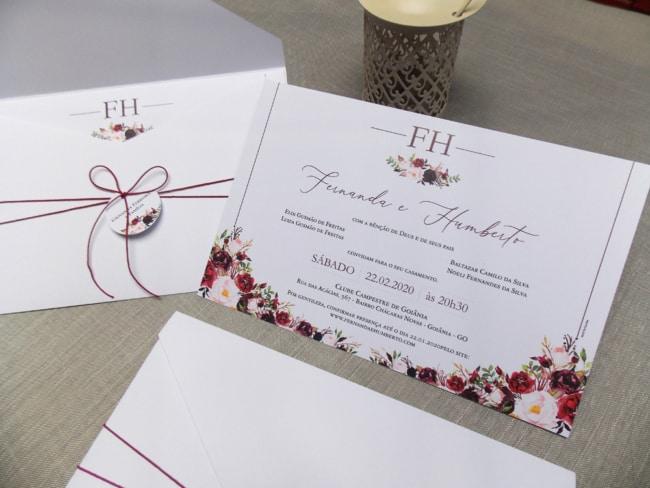convite floral e marsala