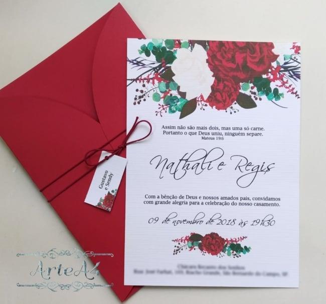 convite marsala floral lindo
