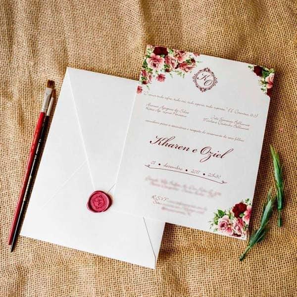convite marsala simples floral