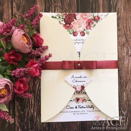 lindo convite marsala floral