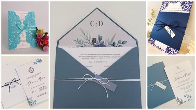 modelos de convite de casamento azul