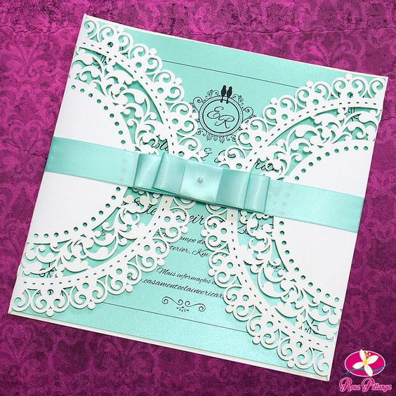 convite de casamento azul tiffany com envelope recortado a laser