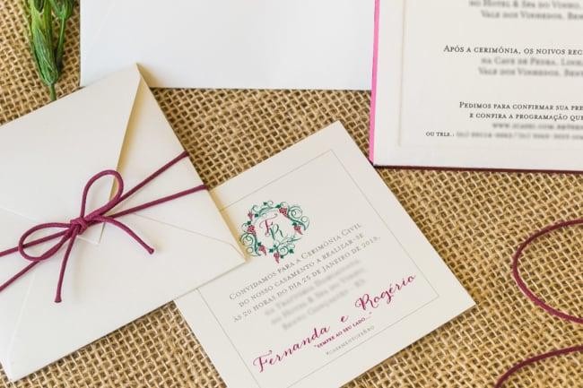 modelo de convite simples com envelope para casamento civil