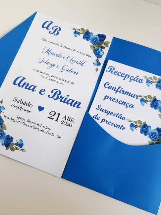 modelo de convite de casamento azul royal com envelope