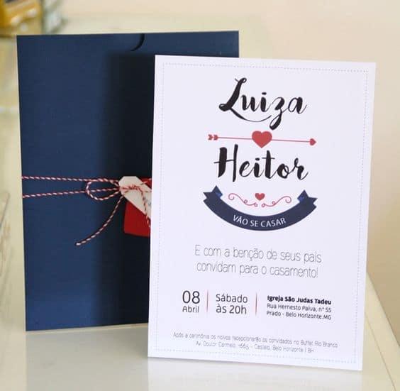 convite de casamento azul marinho e vermelho