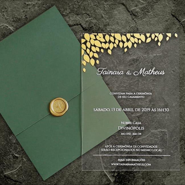 convite de casamento moderno em acrilico