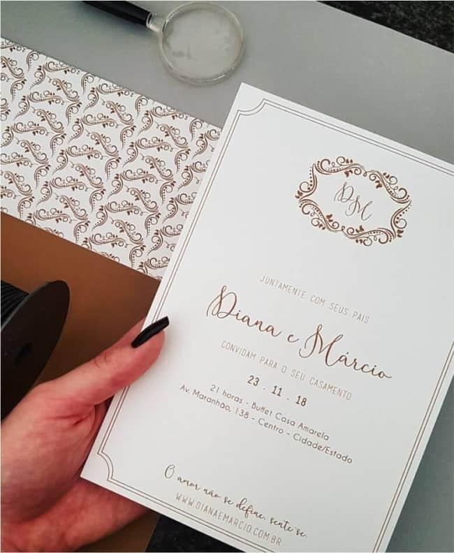 convite de casamento moderno e elegante