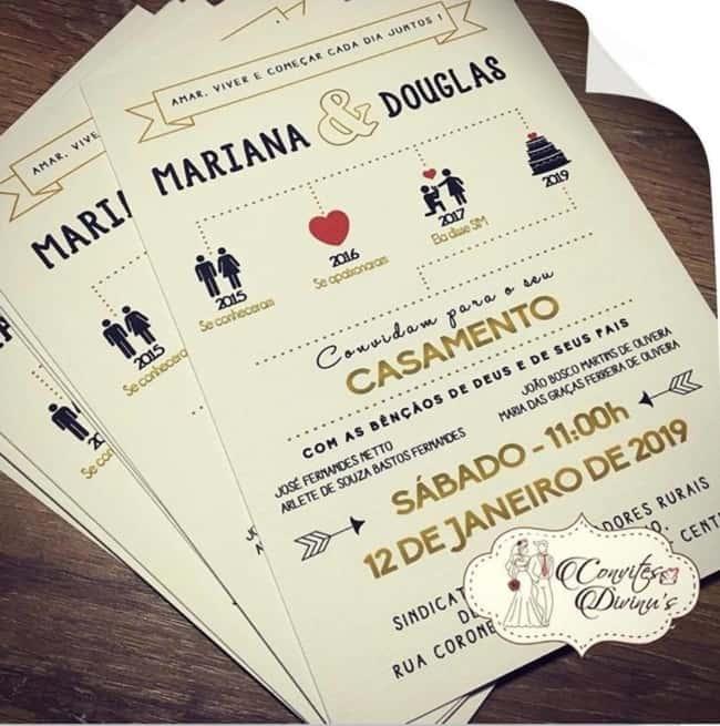 modelo de convite de casamento criativo e moderno