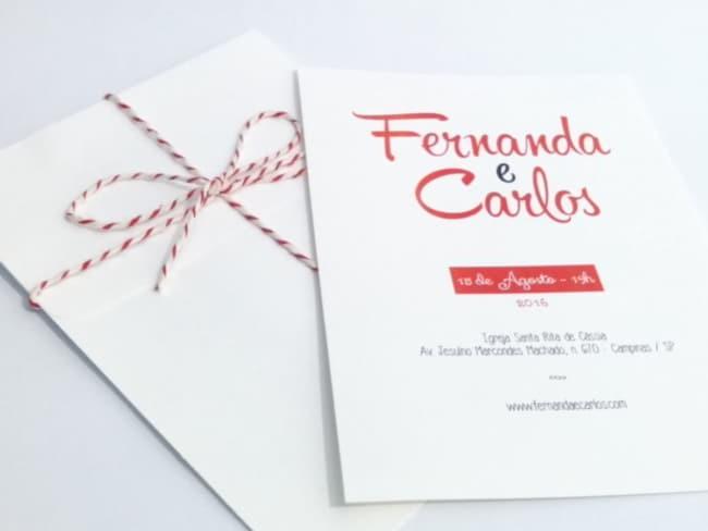 convite de casamento moderno em vermelho