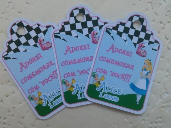 tag de agradecimento de festa Alice no Pais das Maravilhas