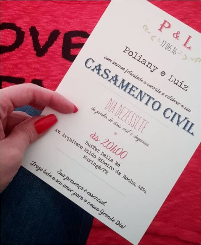 convite simples e moderno para casamento civil