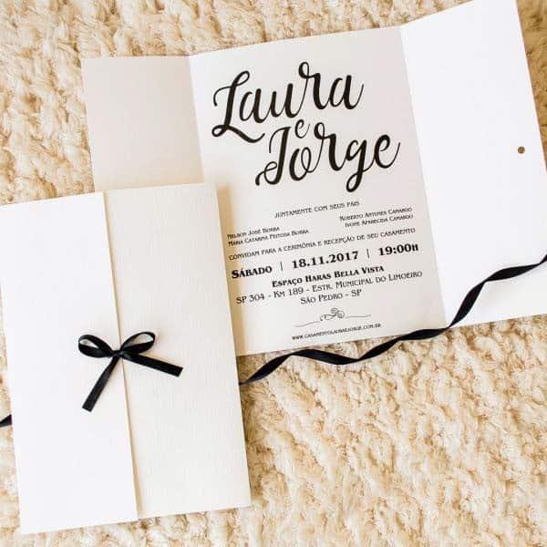 modelo de convite moderno e simples com envelope