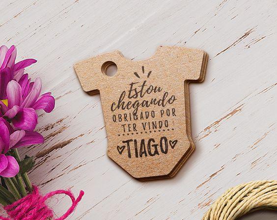 tag de agradecimento em formato de body para cha de bebe