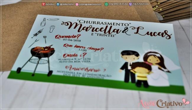 modelo de convite para churrasco com casamento