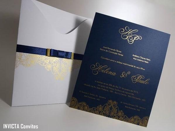 convite de casamento azul marinho e dourado