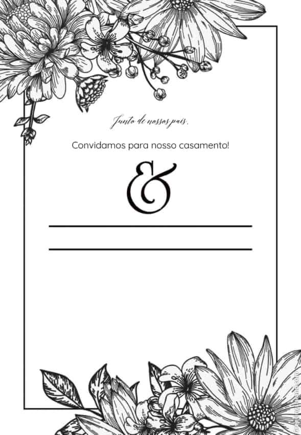 convite de casamento preto e branco para imprimir