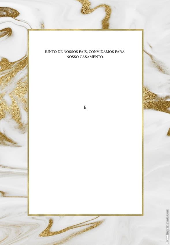 convite de casamento moderno com dourado