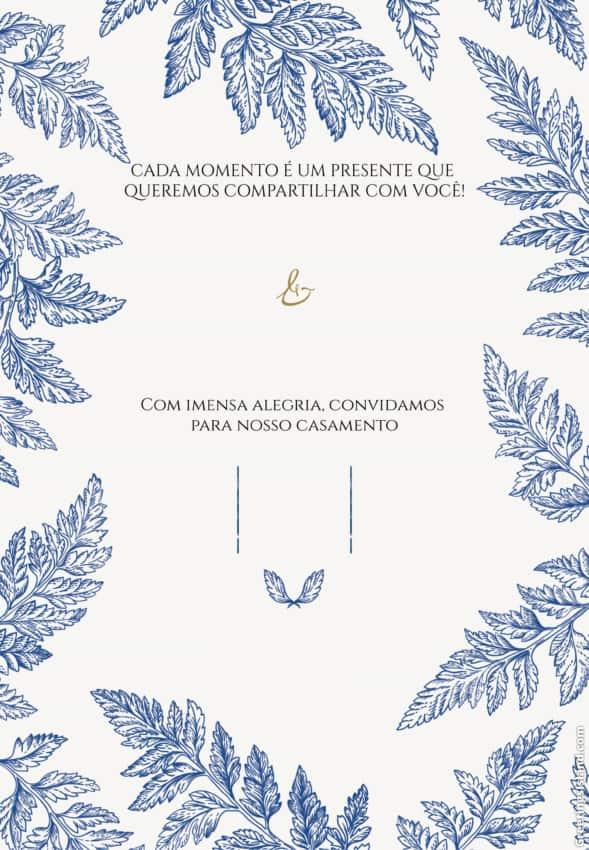 convite de casamento azul para editar e imprimir