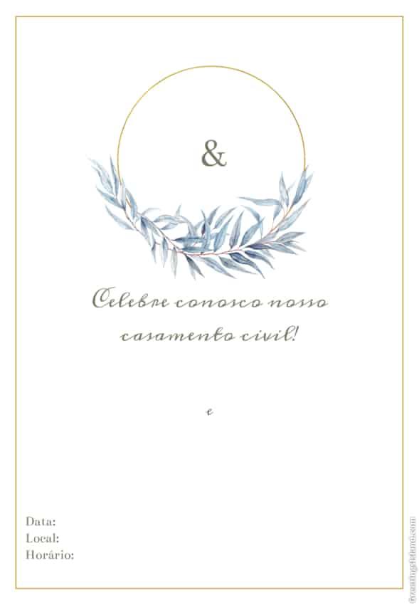 convite de casamento civil com monograma para editar