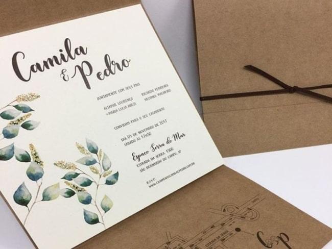 convite de casamento moderno e simples com papel kraft