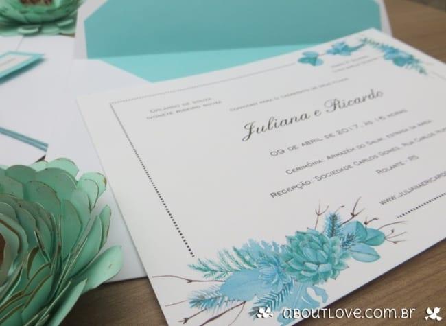 convite de casamento azul tiffany com envelope