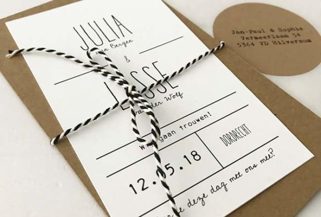 modelo de convite simples e minimalista para casamento
