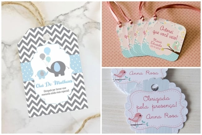 modelos de tag de agradecimento para cha de bebe
