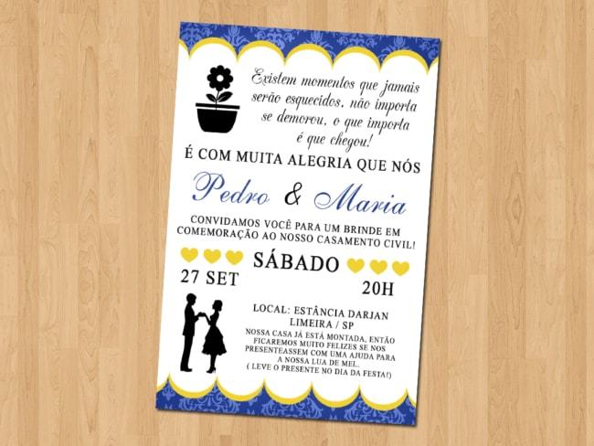 modelo de convite simples para casamento civil