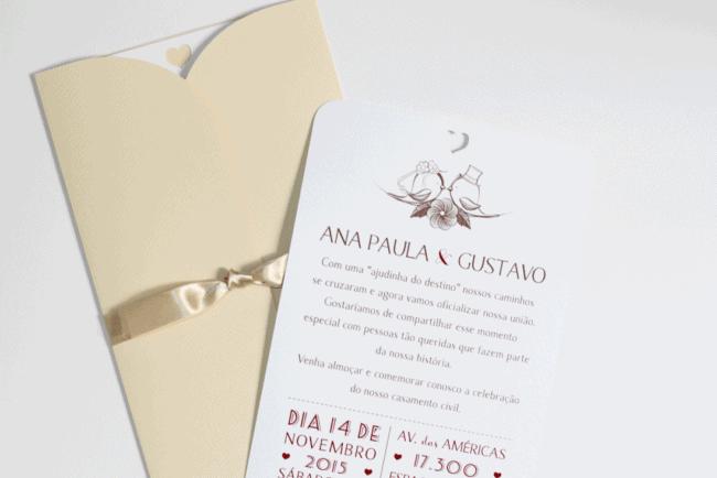 convite para casamento civil com almoço