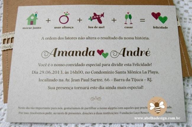 convite informal e moderno para casamento civil