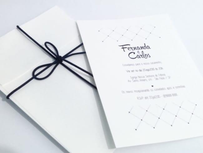 modelo de convite de casamento moderno e minimalista em preto e branco