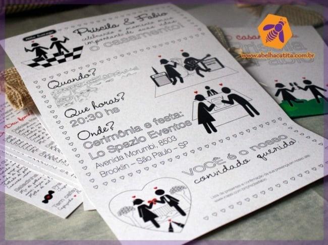 convite descolado para casamento civil