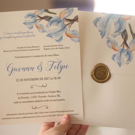modelo de convite de casamento azul serenity com dourado