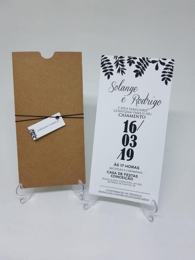convite de casamento minimalista em preto e branco